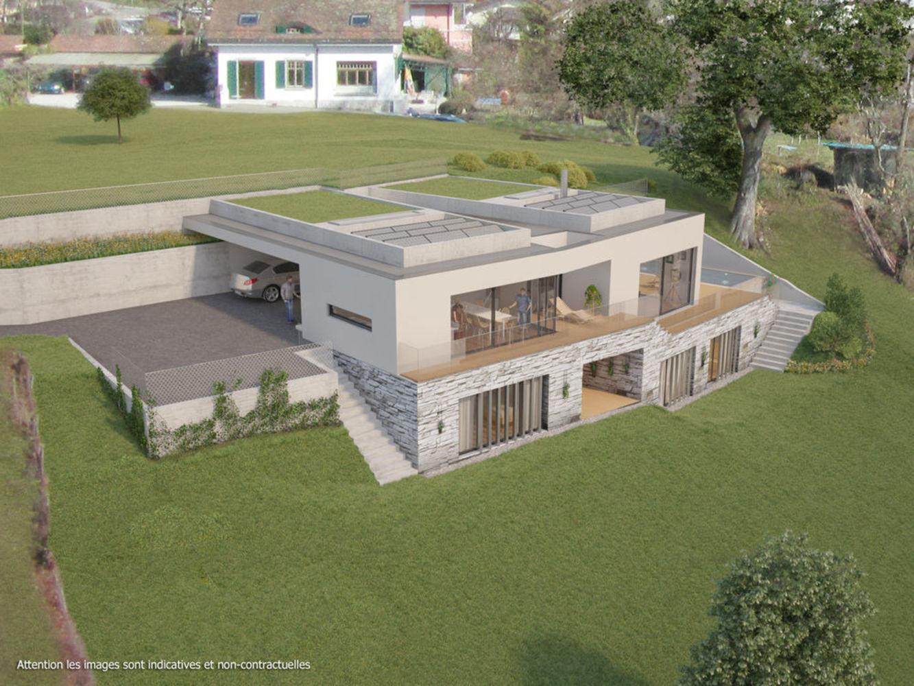 Construire sa maison sur un terrain en pente maison moderne for Photo maison contemporaine sur terrain en pente